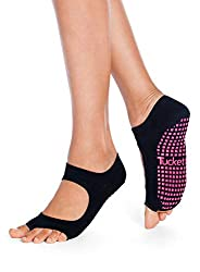 Tucketts Yoga Socken Stoppersocken Damen anti Rutsch Abs Socken, Toeless rutschfeste für Pilates, Barre, Studio, Bikram, Ballett, Tan - Allegro Stil (Schwarz)