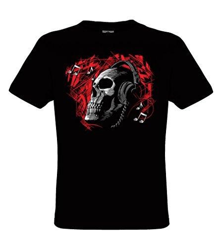 DarkArt-Designs Deadphones - Totenkopf mit Kopfhörer T-Shirt für Damen und Herren - Gothicmotiv Shirt Musiker Metal Biker Fun Party&Freizeit Lifestyle Regular Fit, Größe L, Schwarz