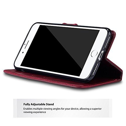 iPhone 8 Plus / iPhone 7 Plus Cover, Terrapin Premium di cuoio con Funzione di Appoggio per iPhone 8 Plus Custodia Pelle, Colore: Nero / Marrone Rosso, Bianco Cucitura