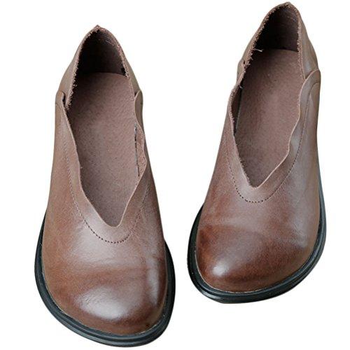MatchLife Femmes Retro Cuir Plates Chaussures Café