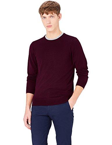 MERAKI Merino-Pullover Herren mit Rundhals Rot (Wine)