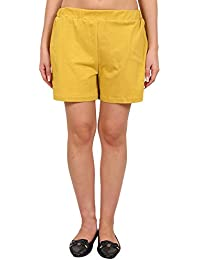 9teenAGAIN Women's Solid Hosiery Shorts (Mustard)