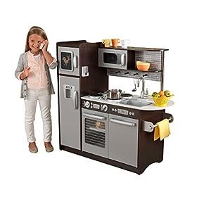 KidKraft- Cocina de juguete de madera Uptown Espresso, para niños , Color Espresso (53260)
