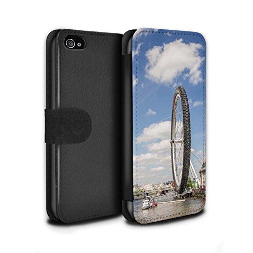 Stuff4 Coque/Etui/Housse Cuir PU Case/Cover pour Apple iPhone 4/4S / Faire Demi-Tour Design / Imaginer Collection London Eye