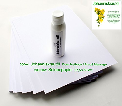 Set - 500ml Johanniskrautöl + 200 Blatt Seidenpapier (37,5 cm x 50,0 cm) für Dorn Methode/Breuß Massage