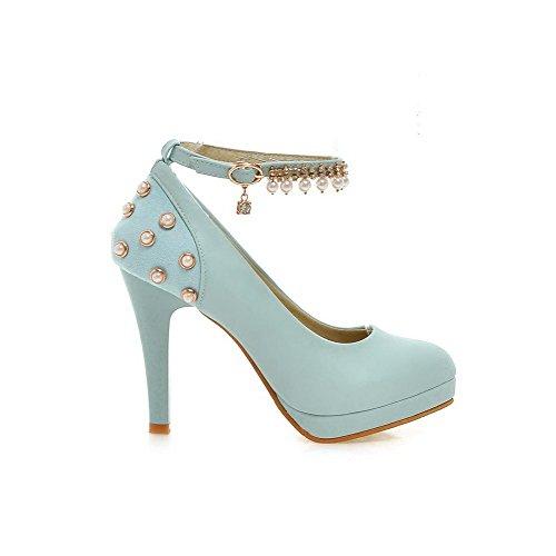 Allhqfashion Alto Embutidos Redor Sapatos Fivela Bombas Senhoras Azuis Material Salto De Toe Macio Ao BdHHFxfqw