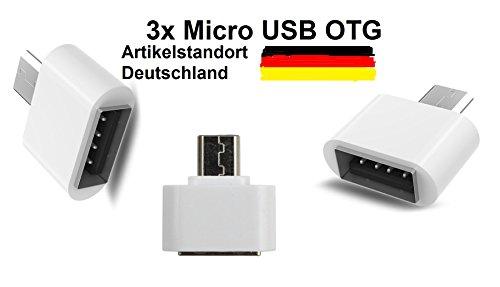 KAMS24 Micro USB (männlich) zu USB 2.0 (weiblich) schnelle Datenübertragung OTG Adapter für Android Smartphones/Tablets mit OTG Funktion 3er Set (3 x Weiß) (Männlich Zu Verwandeln Weiblich)