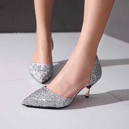 Cuckoo Damen Pailletten D'orsay High Heels Silber d0NkkE