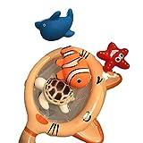 Naisicatar 5Pcs Schwimm Schwimmen Spielzeug mit Fischernetz Bathtime Badezeug Kinderfischnetz Fang Baby-Spielzeug-Nette Karikatur-Tiere Bade Pool Schwimmen Spielzeug-Set (4-Tiere) Nizza Geschenk