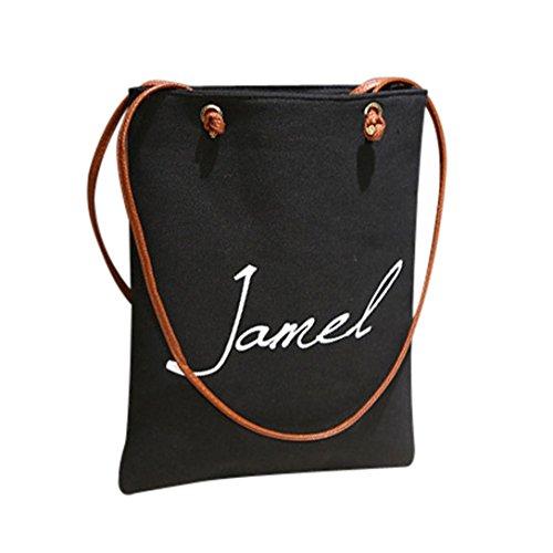 Borse donna,kword borsa a tracolla con lettere in tela da donna,ragazze donna semplice tela borsa crossbody spalla borsetta (nero)
