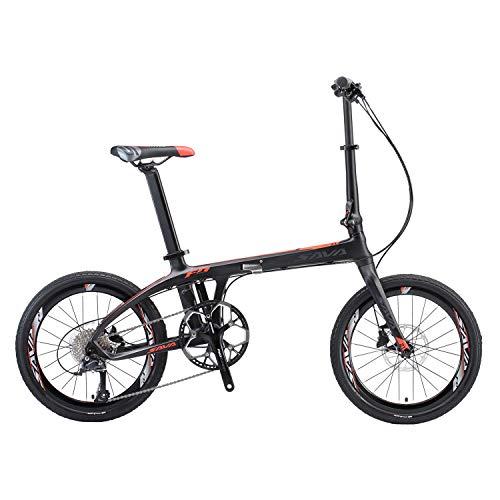 """SAVADECK Z1 Faltrad 20\"""" City Klapprad mit Carbon-/Kohlefaser Rahmen und Shimano 105 R7000 22 Gangschaltung (schwarz rot)"""