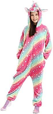 DRESHOW Unicornio Pijamas de un Pieza para Niños Niñas, Unicornio Pijama Ropa de Dormir Invierno de Cosplay Py