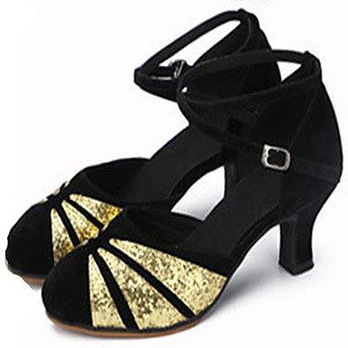 XIAMUO Anpassbare Damen Tanz Schuhe aus Leder Leder Sekt Sekt Glitter Glitter Latin Jazz Fersen angepasste HeelPractice Anfänger Gold