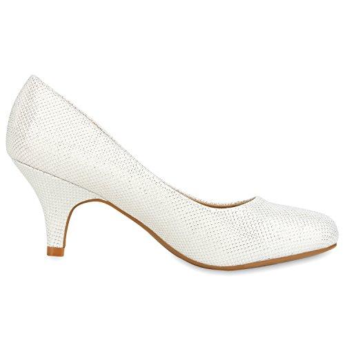 napoli-fashion Klassische Damen Pumps Strass Glitzer Party Schuhe Stiletto Mid Heels Metallic Hochzeit Abendschuhe Jennika Weiss Bianco