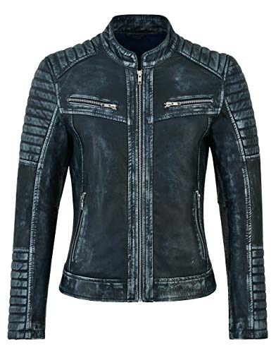 Frauen echte Lederjacke Lammfell Navy Vintage Speed Racing Biker Style 2735 (20 for Bust 98 cm)