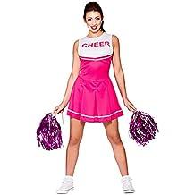Disfraz de animadora de instituto para mujer, color rosa y blanco: Talla XS 34-36