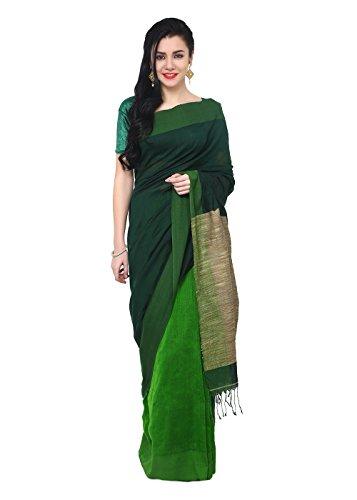 The Weave Traveller Handloom Khadi Ghicha Pallu Women Saree With Blouse (Green,...