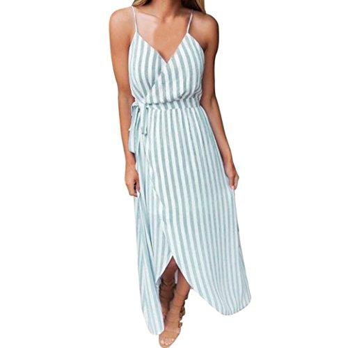 TIREOW Damen Kleider Dünne Swing Polka Punkt / Blumenmuster Taschen Maxi Oversize Lange Partykleid Strandkleid (Grün, S)