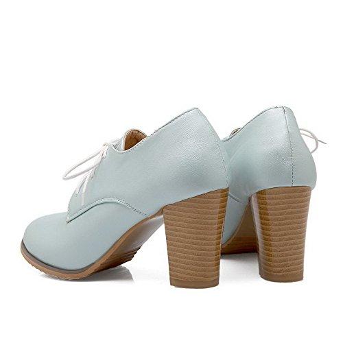 VogueZone009 Damen Pu Leder Rein Schnüren Rund Zehe Hoher Absatz Pumps Schuhe Blau