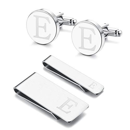 Yadoca Conjunto de Gemelos Clip de Corbata Clips de Dinero para Hombres Alfabeto de Iniciales Grabadas A-Z Personalizado Boda Negocio Regalo