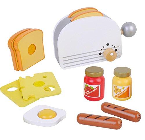 Toaster Set für Spielküche aus Holz mit Frühstück Toast und Lebensmittel