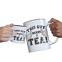 123t Funny Mugs This Guy Needs A Tea - Coffee Energy Joke Adult Humour 70oz / 2 LITRE - GIANT NOVELTY MUG - GIFT BOXED