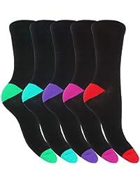 Floso - Calcetines de algodón con talón y puntera en contraste para mujer(paquete de