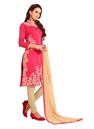 Blissta Red Chanderi Embroidered Straight Suit Dress Material(VLSHDA305)(Diwali special 2017, ,great indian festival sale,festival offer,best deals of the day,traditional for women,sales offers)  available at amazon for Rs.999