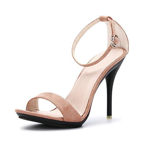 OCHENTA Sandali stiletto estivi con cinturino alla caviglia, chiusura fibbia, per donna Camoscio Beige