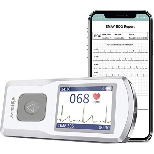 EMAY Bluetooth Moniteur ECG Portable (for iPhone & Android, Mac &...