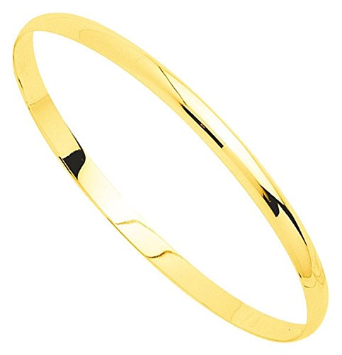 Orleo - REF7521BB : Bracelet rigide Femme Or 18K jaune - Demi-Jonc Massif 65 mm x 6mm