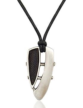 Surferkette Leder Farbe Silber Schwarz Herren-Kette von NOBEL SCHMUCK