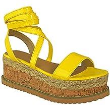 Mujer Forma Plana Corcho Alpargatas Sandalias De Cuña Tobillo Zapatos Con Cordones Talla