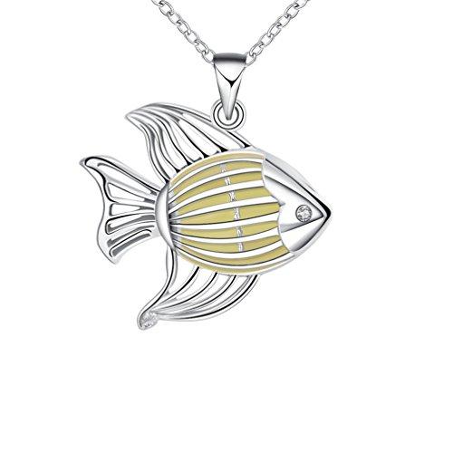 PAURO Damen Silber Plattiert Magische Glühen Im Dunklen Gestreifte Fisch Anhänger Halskette Cyan