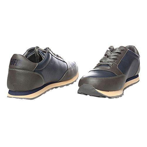 RIFLE Chaussures Homme Baskets, Plates Avec Lacets. mod. 162-M-318-604 Gris foncé - Bleu