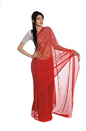 Aaradhya Fashion Georgette Saree (Afj-216_Red)