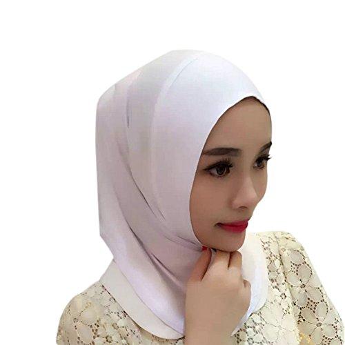 Haodasi Muslim Femmes Solid Couleur Court Écharpe Islamic Coton Couvercle de tête Arabian Hijab white