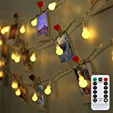 LED String Fairy Lights,16FT 50Leds Warm White Globe Light,Battery Powered String Lights with Remote Control& 8 Modes Controll Christmas Decor Bedroom Party Wedding Lights