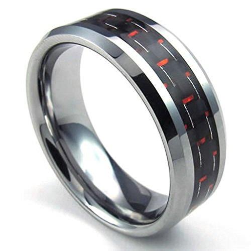 AMDXD Anello Formato 20 Acciaio Inox Inossidabile Fasce di 8mm in Fibra di Carbonio in Acciaio Inox Gioielli Anelli Uomini Argento