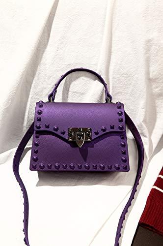 Yukun Handtasche Mode Tasche Niet Umhängetasche Matte Matt Geleebeutel Schulter Diagonal Kleine Tasche, Kleine Lila