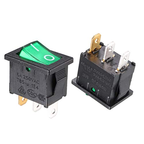 ZCHXD 10Pcs AC 10A/125V 6A/250V SPST On Off Toggle Switches 3 Pin 2 Position Green LED Light Boat Rocker Switch -