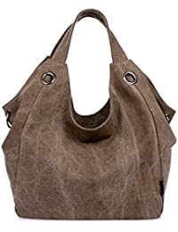 Brown : Good Bag Women's Canvas Tote Bag Oversized Lined Vintage Style Purse Shopper Shoulder Handbag