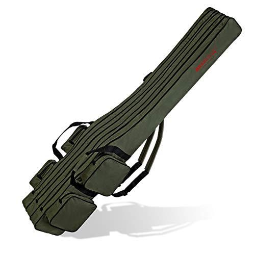 Angel Tasche Futteral Rutentasche Fishing Rucksack - Oliv 3 Innenfächer - 190 cm