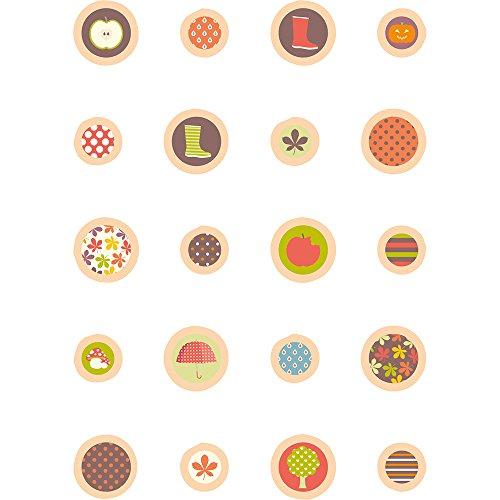 Confezione da 20di resina epossidica autunnali e legno Disco monete, dimensioni 13mm e 25mm, si applica, Gocce, a pois, a righe, Stivali, foglie, Zucca, Funghi e ombrello