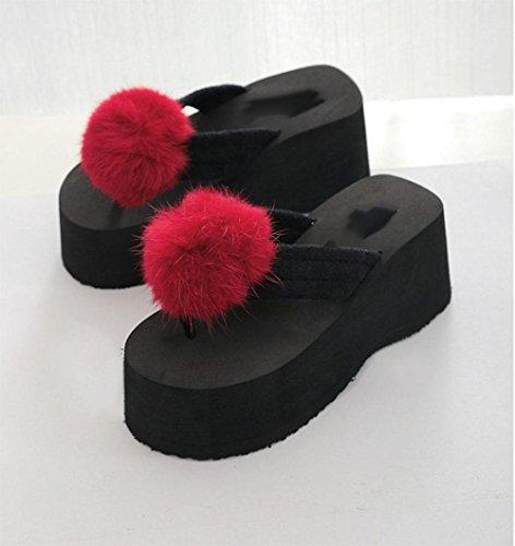 sandali aperti lanciano pantofole scivolare femminili scarpe coniglio mano-palla tacco alto selvatici US6 / EU36 / UK4 / CN36