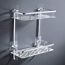 UMI. Essentials 2-Tier Bathroom Shelf No Drill Shower Caddy Organizer Aluminum Rectangle Wall Mount Anodized, A4028BDF