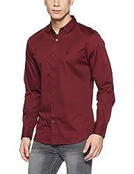 French Connection Mens Slim Fit Casual Shirt (52JKC_Bordeaux_S)