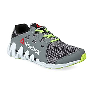 Reebok Zigtech Big N Fast Foggy Grey,Black,Solar Yellow and White Sports Shoes - 12 Uk