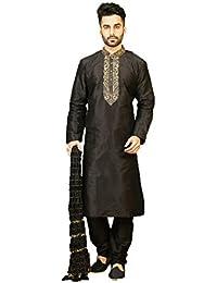 Da Facioun Art Silk Fabric Black Color Traditional Indian Mens wear K-5328-48350