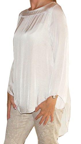 Bluse (6957) 3/4 Arm, Seide + Viskose, Rundhals, Rückenausschnitt, hinten länger als vorne, ungefüttert, Uni-Größe - weiß (Weiße Tunika Seide)